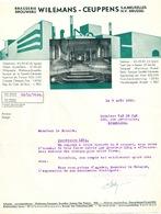BRASSERIE - Lettre Illustrée 1950 + Carte PUB WIELS - Brasserie WIELEMANS - CEUPPENS à FOREST BXL  --  26/360 - Alimentaire