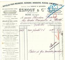 BRASSERIE - Lettre Illustrée 1906 Esnouf à MONS - Articles Pour Brasserie , Meunerie , Sucrerie , Cimenterie  --  26/361 - Levensmiddelen