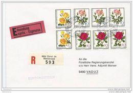 100 - 77 - Enveloppe Suisse Exprès Recommandée  1972 - Superbe Affranchissement Timbres Roses - Roses