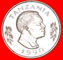 √ CANADA* TANZANIA ★ 1 SHILINGI 1990 MINT LUSTER! LOW START ★  NO RESERVE! President Mwinyi (1985-1995) - Tanzanie