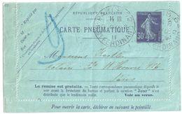 4497 DATE OBLIQUE  PARIS 62 St Ferdinand Carte Lettre Entier Pneumatique 30c Semeuse Yv 2763 EPP Storch K5a Ob 1911 - Pneumatiques