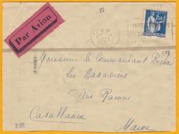 1935 - Enveloppe  Par Avion De Poitiers Vers Casablanca, Maroc - YT 288 Type Paix Seul - Ligne Mermoz - Flamme Poitiers - Correo Aéreo