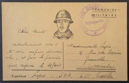 Carte De Franchise Militaire Cachet ECOLE DES CHARS DE COMBAT De Versailles E.O.RK Vers Granville Juin 1940 - Guerra Del 1939-45