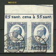 LETTLAND Latvia 1929 Michel 147 B In Pair WZ Inverted Mit Bogeninschrift O RRR - Lettonie
