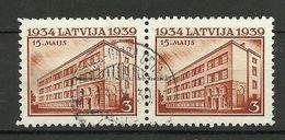 LETTLAND Latvia 1939 Michel 271 In Pair O - Lettonie