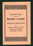 """CATALOGUE  """"INSTRUCTIONS À L'USAGE DES MACHINES À COUDRE À NAVETTE ROTATIVE - Machines"""