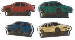 GROUPE PSA - CITROEN - C19 - 4 Pin's Différents : BX, ZX, AX, XM - Verso : SM - Peugeot