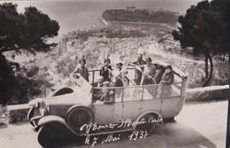 Carte-postale Photo : Autocar Sur Les Hauteurs De Monaco Monte Carlo, Vue Sur La Principauté   7 Mai 1937 - Familles Royales