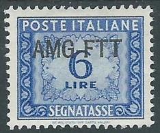 1949-54 TRIESTE A SEGNATASSE 6 LIRE MH * - W6-6 - 7. Triest