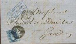 20c Médaillon - Non Déterminé - Sur Devant De Lettre De 1858  Bruxelles - 1851-1857 Medaillen (6/8)