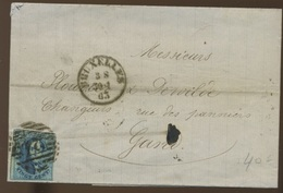 20c Médaillon - Non Déterminé - Sur Lettre De 1863   Bruxelles - 1851-1857 Medaillen (6/8)
