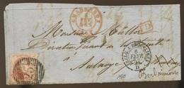 40c Médaillon - Non Déterminé - Léopold Ier  Sur Devant De Lettre - 1851-1857 Medaillen (6/8)
