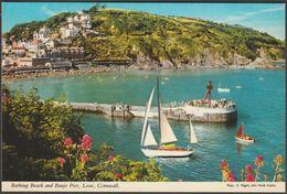 Bathing Beach And Banjo Pier, Looe, Cornwall, C.1970s - John Hinde Postcard - England