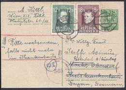 AUTRICHE - 1947 -  Carte Entier Postal 5g.+12+18g. De Wien, Avec Contrôle De Censure Locale, Pour Rosenbach - B/TB - - Entiers Postaux
