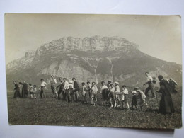 """MARGERIAZ (73)  Carte- Photo Randonnée En Montagne - """"Montée Au Margériaz"""" - Groupe De Randonneurs Enfants Et Prêtres - Alpinisme"""
