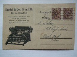 GERMANY 1923 Inflation Postcard - Berlin To Deal Kent With Illustrated Typewriter - Lettres & Documents