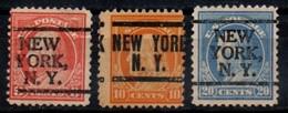 """USA Precancel Vorausentwertung Preo, Locals """"NEW YORK"""" (NY) 3 Différents. - Estados Unidos"""
