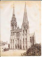 Photo Albuminée  Vers 1880 LA CATHEDRALE DE CHARTRES - à Gauche Magasin F.DARREAU -  N.D.PHOTO - KUHN Paris - Photographs