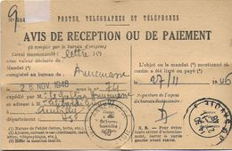 AVIS RÉCEPTION OU PAIEMENT POSTES TÉLÉGRAPHE & TÉLÉPHONES  1946  ANNEMASSE 74 HAUTE SAVOIE  JUSTICE DE PAIX CANTON LOT 3 - Historische Dokumente