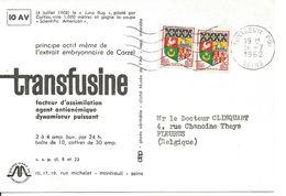 Cher Docteur Carte Transfusine De Montreuil à Fleurus Belgique 16/07/1962 - France