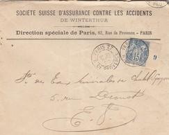 LETTRE. 25 NOV 1900. SOCIETE SUISSE D'ASSURANCE CONTRE LES ACCIDENTS à PARIS SAGR 15c MILLESIME 9 - 1877-1920: Semi-moderne Periode