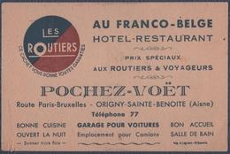 """Origny-Sainte-Benoite.Pochez-Voët.""""Au Franco-Belge""""."""" Les Routiers Restaurant."""".Carte Commerciale. - Alimentos"""