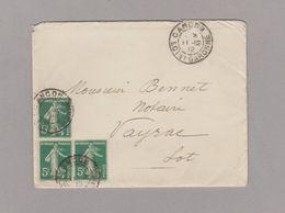 LSC 1912 - Cachet  CANCON (Lot Et Garonne) Sur Timbres Semeuse 5c Vert (x3) - Postmark Collection (Covers)