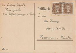"""4 036 Postkarte Bahnpost """"ERFURT-MEININGEN"""" 1927 - Allemagne"""