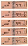 FRANCE - MARSEILLE - 5 Anciens Tickets De Tramway -  Imprimerie Petit Marseillais - Tram