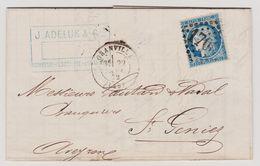 Cérès N° 60 A Position 133 D1 1er état Début De Tirage GC 1706 Granville Sur Lettre 2 Scans - 1871-1875 Cérès