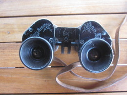 JUMELLES MILITAIRES WW1 GOERTZ BERLIN TRIEDER BINOCLE AVEC ETUI / 1 BONNETTE CASSEE - Optics