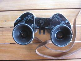 JUMELLES MILITAIRES WW1 GOERTZ BERLIN TRIEDER BINOCLE AVEC ETUI / 1 BONNETTE CASSEE - Optique