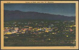 "Tucson At Night, Seen From ""A"" Mountain, Arizona, 1948 - Lollesgard Specialty Co Postcard - Tucson"