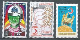 Tunisie YT N°865-866-874 Interpol - Croissant-Rouge - Eradication De La Variole Neuf ** - Tunisia