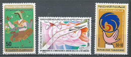 Tunisie YT N°884-885-886 Planning Familial - Aviation Civile Et Météorologie - Croissant-Rouge Neuf ** - Tunisia