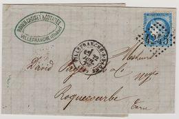 Cérès N° 60 A Position 95 G1 1er état GC 4245 Villefranche-sur-Saone  Sur Lettre 2 Scans - 1871-1875 Cérès