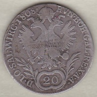 Autriche. 20 Kreuzer 1808 B (Kremnitz) Franz I. Argent. KM# 2141 - Autriche