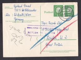 Germany: Stationery Postcard To UK, 1960, Extra Stamp, Returned, Retour Cancel, Gone Away, Paddington (traces Of Use) - Brieven En Documenten