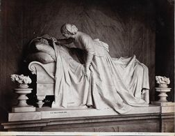 GENOVA -Photo Albumine Ca.1880 - A.NOACK GENOVA N° 3162 COMPOSANTO MON.PIENOVI (GB VILLA SCOLPI 1879)statue De Cimetière - Oud (voor 1900)