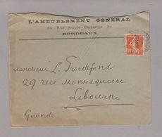 LAC 1912 - Entête -  L'AMEUBLEMENT GENERALE à BORDEAUX - Postmark Collection (Covers)