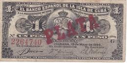 BILLETE DEL BANCO ESPAÑOL EN CUBA DE 1 PESO PLATA DEL AÑO 1896  (BANKNOTE) - [ 1] …-1931 : First Banknotes (Banco De España)
