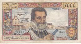 BILLETE DE FRANCIA DE 5000 FRANCS DEL 3-10-1957 DE HENRI IV   (BANKNOTE) - 1955-1959 Sovraccarichi In Nuovi Franchi