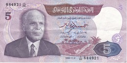 BILLETE DE TUNEZ DE 5 DINARS DEL AÑO 1983 (BANK NOTE) - Tunisia