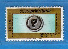 Italia °- Anno 2002 - POSTA PRIORITARIA. USATO. € 0,77. Unif 2634.  Vedi Descrizione - 2001-10: Used