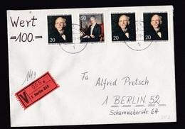 Germany-Berlin: Insured Value Cover, 1970, 4 Stamps, Fontane, Humboldt, V-label (traces Of Use) - [5] Berlijn