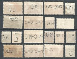 Perfins France , 18 Old Stamps - Briefmarken