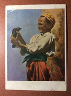 RARE Vintage Soviet Russian Postcard Children's Series SFA 1930s Boy Uzbek National Clothes With A Crow - Uzbekistan