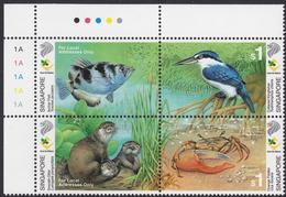SINGAPORE 2000, Wetland Wildlife - Kingfishes - Se-tenant Cornerblock Of 4 MNH, Mi# 1011-14 - Singapur (1959-...)
