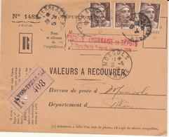 VAR (devant) 9F Gandon Perforé Perfin SL Société Lyonnaise De Dépots O. Lyon 1946  (2 Scans) - Storia Postale