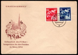 DDR SC #118-9 (Mi 320-1) 1952 Congress Of Nations For Peace FDC 12-08-1952 - FDC: Covers